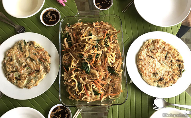 Korean Japchae (Mixed Veggies With Sweet Potato Noodles)