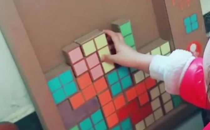 cardboard toy tetris