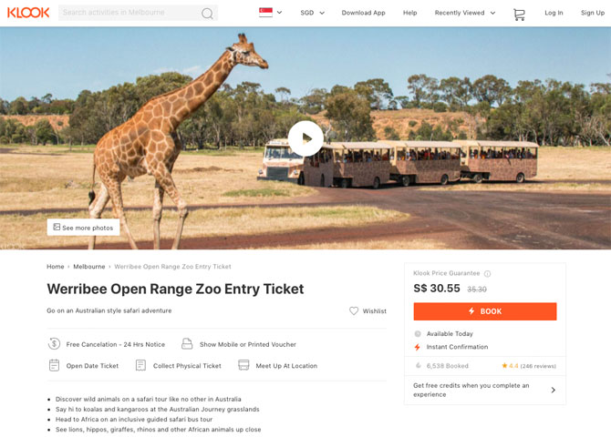 Klook tickets for Werribee Zoo, Melbourne