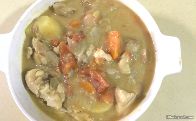 Home-cooked Recipe: One-pot Chicken Stew with Campbell's Cream of Mushroom Soup: Pot in Grill
