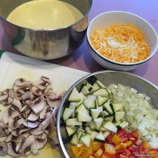 Crustless Veggie Mushroom Cheese Quiche - Ingredients