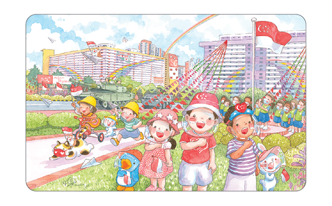 Limited-edition National Day EZ-Link Cards with Ah Guo Designs