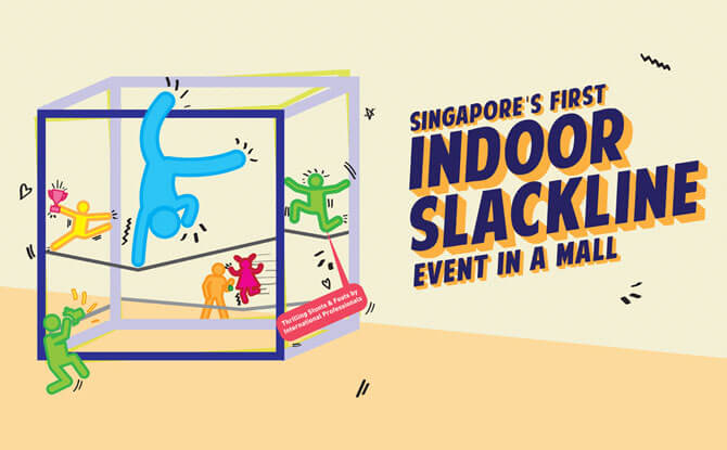 Singapore's First Indoor Slackline Event in a Mall -HarbourFront Centre in June 2018