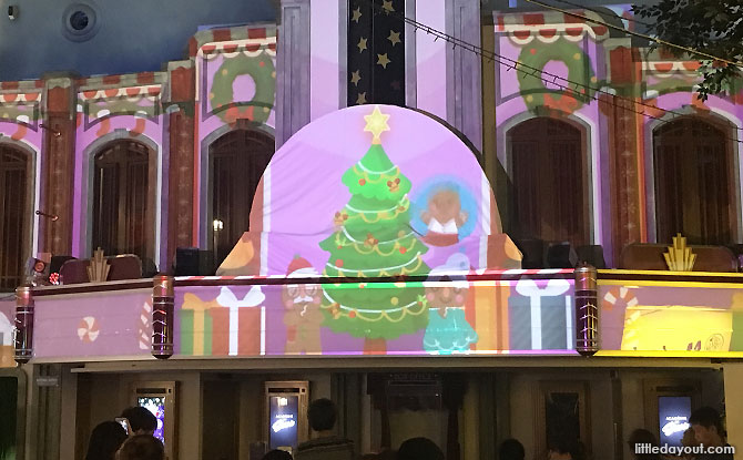 Light projection show - KidZania Singapore Christmas Night Out