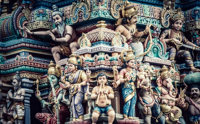 Ornaments of a Hindu temple in Singapore