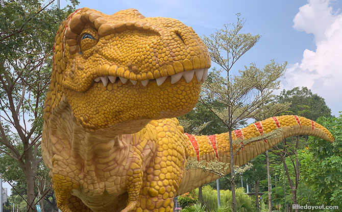 Huge T-rex And Other Dinosaurs Spotted Along Changi Airport Connector, Near HUB & SPOKE