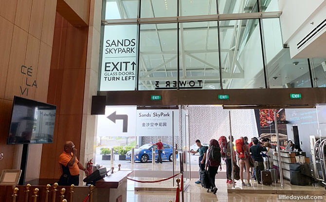 Head out to the Tower 3 entrance of the Sands SkyPark observation deck