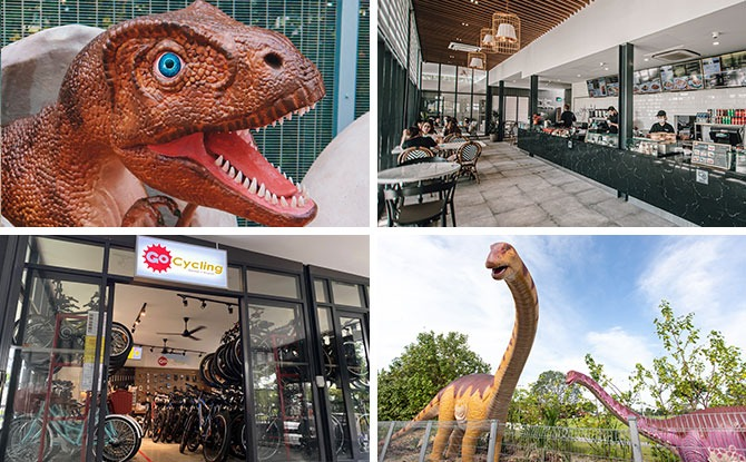 Changi Jurassic Mile And Changi Airport Connector: Dinosaur Walk, Cafe & Bike Rentals