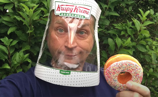 Man Turns Krispy Kreme Box Into A Face Shield