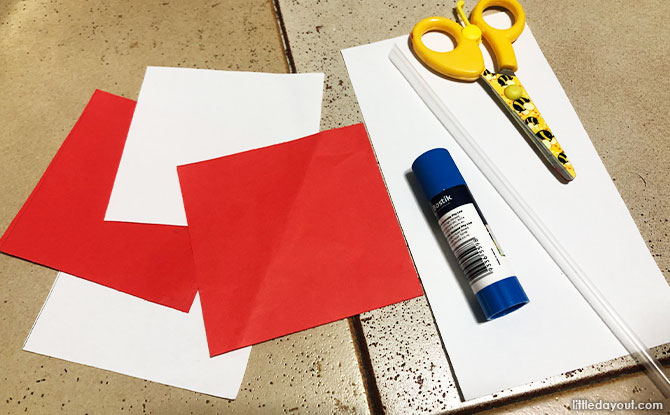 What you need to make a Red And White Pinwheel