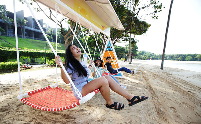 Singapore's Longest Swing at Sentosa's Palawan Beach