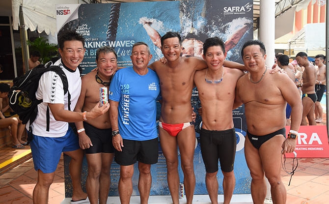 Akeem Khoo with his friends at SAFRA Swim for Hope