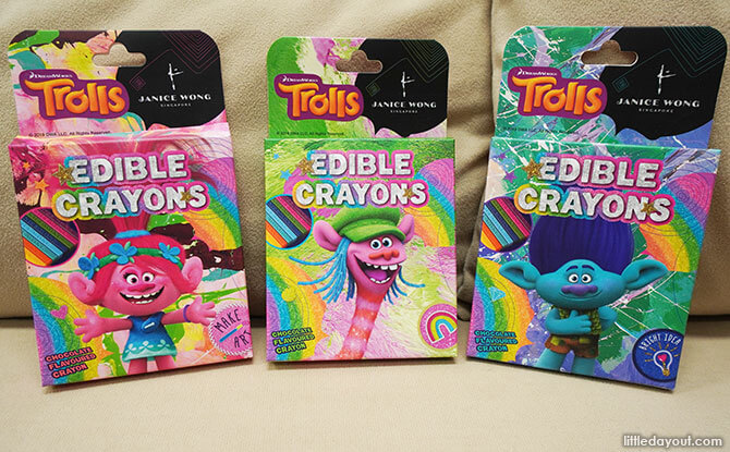 Three different box designs - Trolls Chocolate Crayons by Janice Wong Singapore