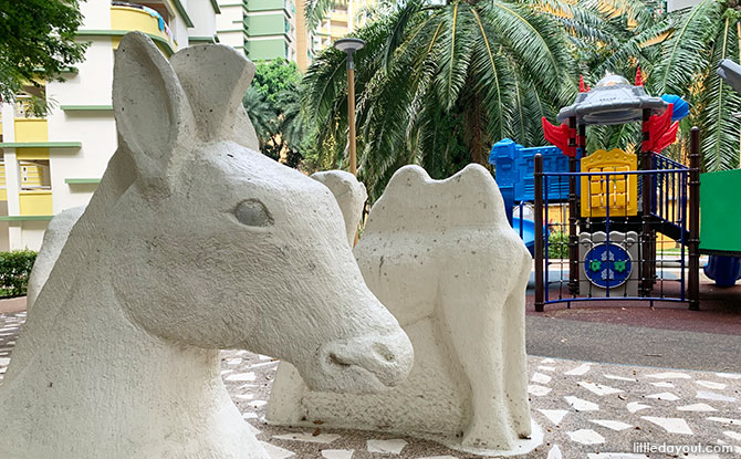 White Animals At The Playground: A Wild Collection in Woodlands