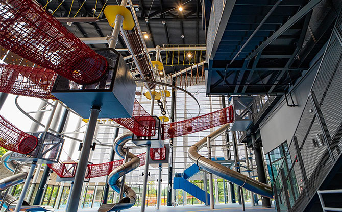 Singapore's biggest two-tiered, 16-obstacle indoor challenge rope course