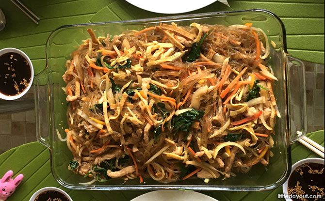 Korean Japchae (Mixed Veggies With Sweet Potato Noodles) - Served