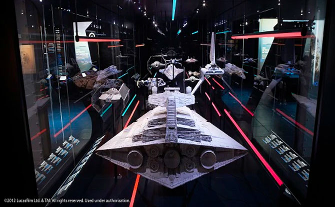 A model of the Imperial fleet: Star Destroyer Star Wars Identities: The Exhibition