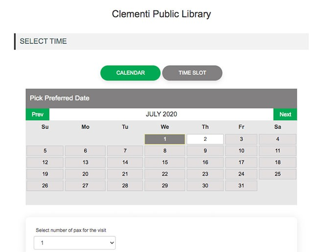 Choosing the date to visit the library in Singapore during Phase 2