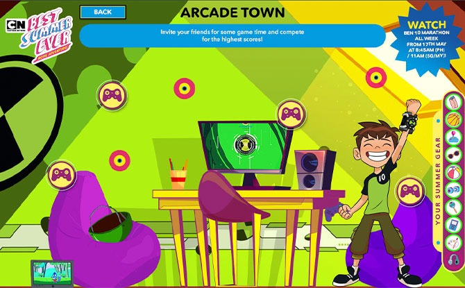 Games in Arcade Town with Ben 10
