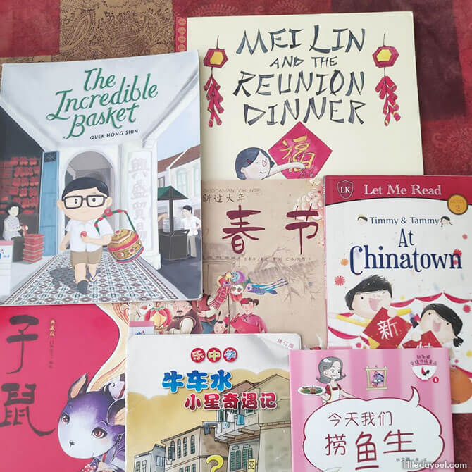 Reading books on Chinese New Year