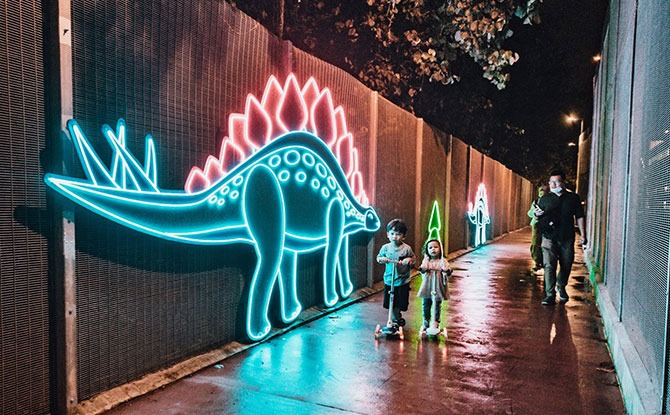 Neon light up dinosaur