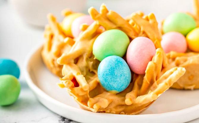 Easter Egg Peanut Butter Haystacks