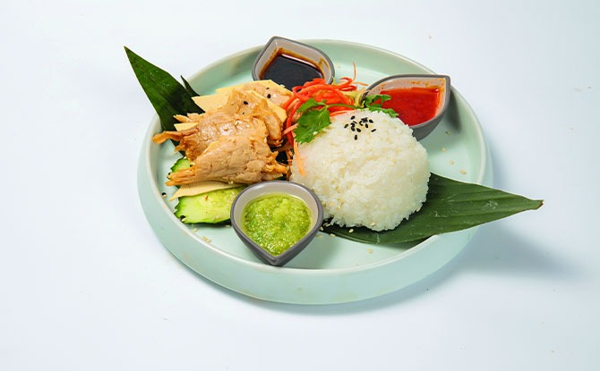Green Common Hainanese Trick'en Rice
