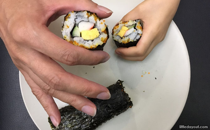 Finding one of the treasures under the sea – seaweed – involves making a sushi roll. What yummy fun!