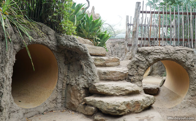 Tunnels for kids to play-pretend as meerkats