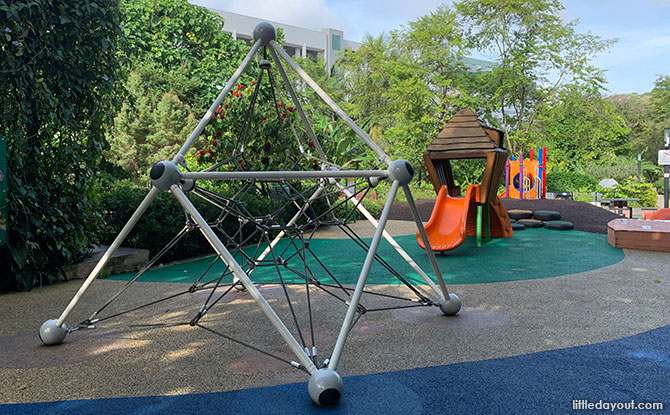 Playing at the Recycled Playground - Mini Mars Pyramid Playground at HortPark