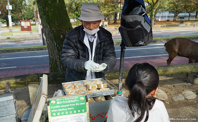 Street vendors located throughout Nara Park sell deer crackers.