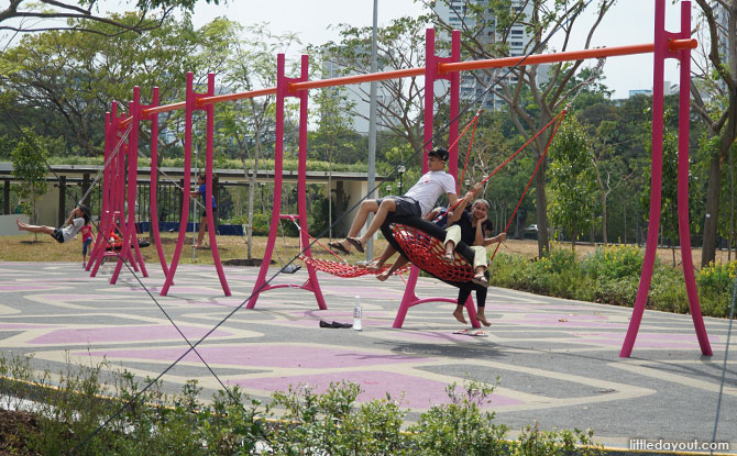 Raintree Cove: Red Swings And Mini-Obstacle Course At East Coast Park