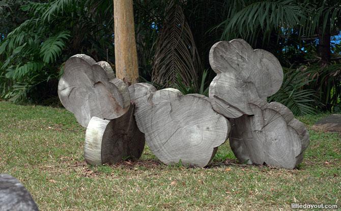 clouds Wooden Sculptures In Pasir Ris Park