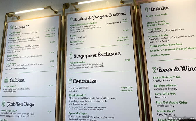 Menu at Shake Shack Neil Road Tanjong Pagar