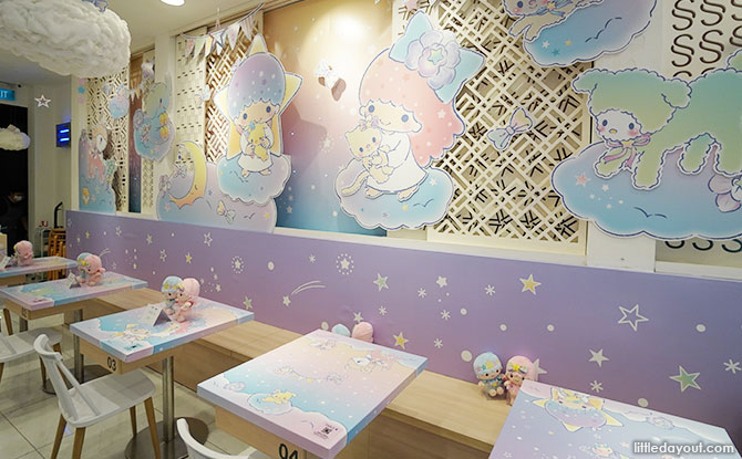 Little Twin Stars x Kumoya - Orchid Starry Dreamz Pop-Up Cafe interior