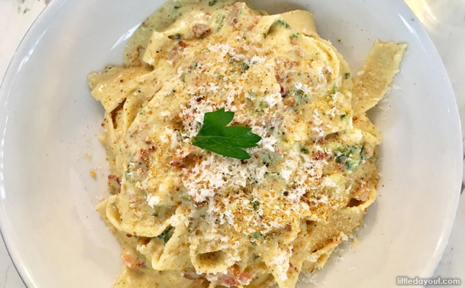 Carbonara with Handmade Pappardelle