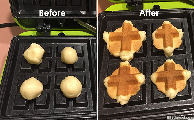 Jolly Mini Waffle Bites - Before and After