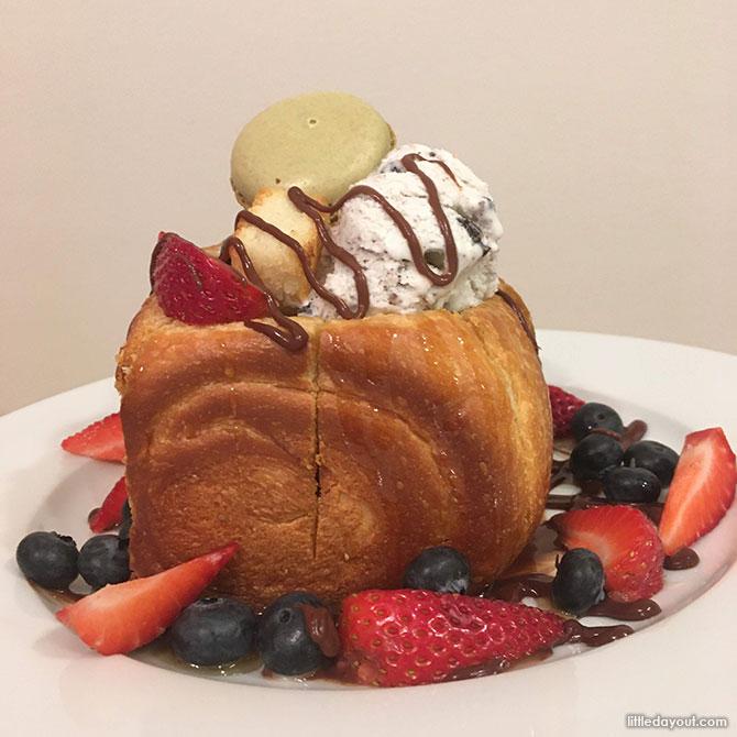 Brick Toast Dessert Served with Fruits, Macarons & Ice Cream