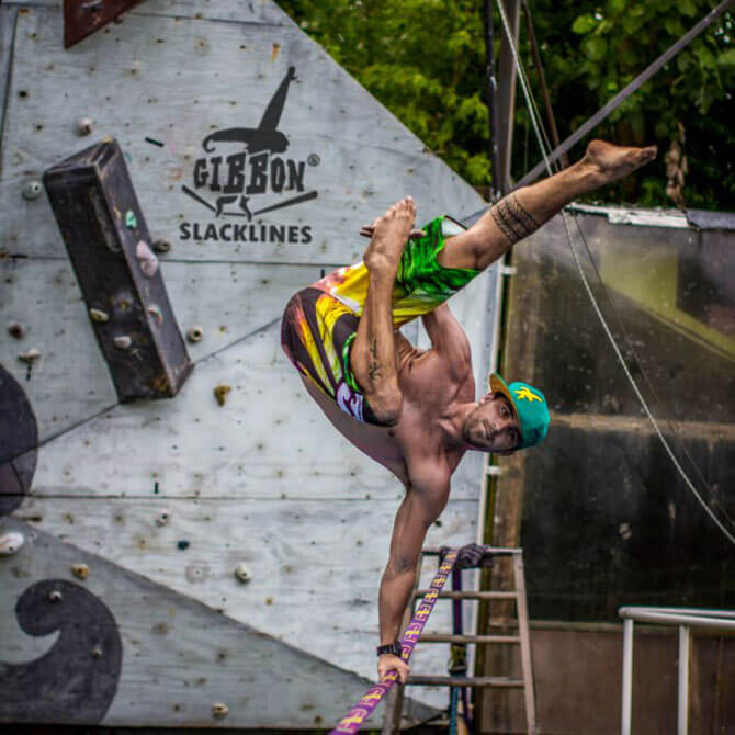 Slackline performances at Harbourfront Centre in June 2018