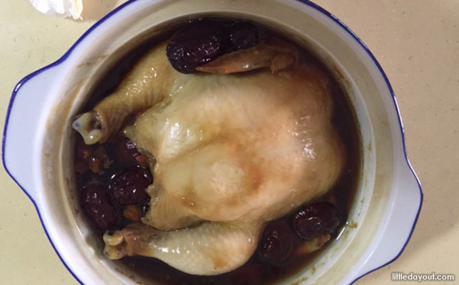 Double-boiled Herbal Chicken - Chicken within smaller pot