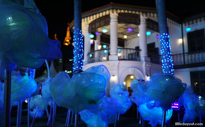 Sun Yat Sen Nanyang Memorial Hall lit up for the Wan Qing Yuan Mid-Autumn Festival celebrations.