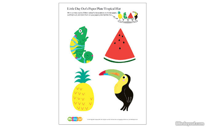 Paper Plate Tropical Hat Craft Downloadable Printable