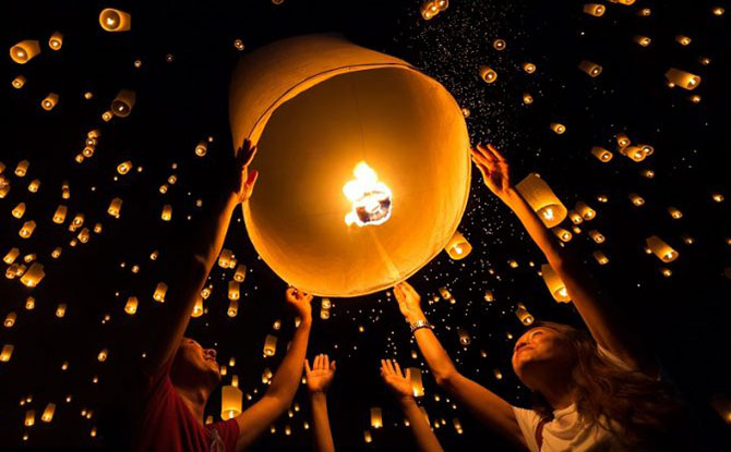 Traditional sky lanterns.