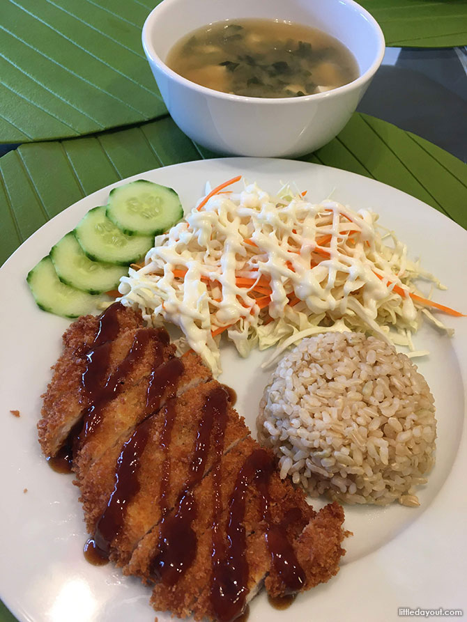 Japanese Tonkatsu and Miso Soup with Cabbage Salad
