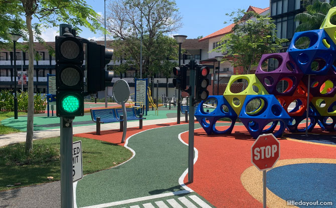Traffic lights at the La Salle street playground in Kampung Siglap