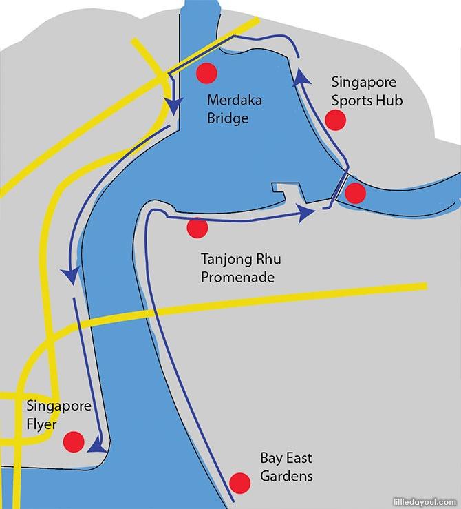 Around the Kallang Basin: Singapore Sports Hub, Merdaka Bridge and F1 Pit Building