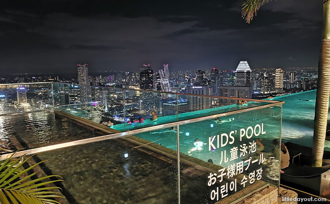 Three Sections of the Infinity Pool, with a heated outdoor jacuzzi and kids' pool