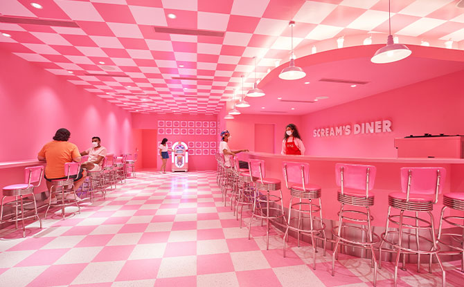 Dance to oldies in a pastel diner