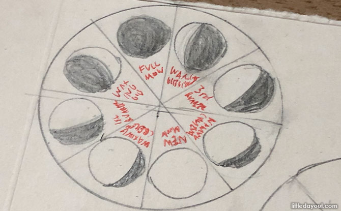 Draw the phases of the moon in the different sections
