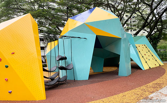 Origami Playground At Jurong West Park: Folded Rock Sculpture